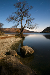 Ullswater Star Trails (Benjamin Driver) Tags: landscape landscapes stars star trails tree night nightphotography blue long exposure longexposure quiet water waterscape rocks raw lakedistrict lake ullswater cumbria canon 1835mm reflection reflections hills