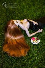 Sameera (astramaore) Tags: glimmer luchia z girl nice pretty hot dress black grass green blueeyes food lifestyle fulllips dolce vita redhead longhair integritytoys astramaore doll toy dollphotography chic beauty glam style fashionroyalty fashiondoll donuts dolcevita