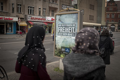 Freedom is military service. Karl-Marx-Straße, April 2017. (joelschalit) Tags: berlin germany karlmarxstrase neukölln immigrants refugees asylumseekers deutschland fujifilmx100f arab hijab headscarf women