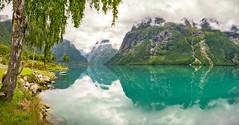 ~ Lovely Lodalen ~ (~Ranveig Marie~) Tags: lodalen pano panorama reflection lake water sognogfjordane stryn lovatnet hellsete