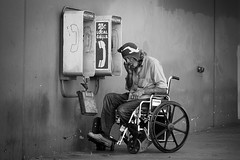 Untitled (Chris28mm) Tags: street bw man los downtown angeles wheelchair 4th