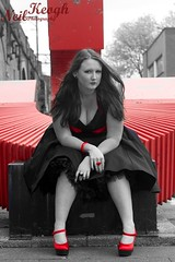 IMG_4461 (Neil Canon Keogh) Tags: red black vintage necklace highheels dress retro ring redhead bow buskers bracelet heels rockband pinup pinupgirl trianglesquare manchestercitycenter dressmodellaura