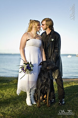 Weddings-Bride-&-Groom-11 (Shaun Pascoe Photography) Tags: flowers woman dog man male love beach fashion female beard outdoors happy coast affection kate lace content australia bluesky rottweiler location romance coastal blond queensland environment sideburns scarborough watersedge accessories bouquet brunette protective weddingdress seashore graham 2people beachfront leatherjacket attraction adoration pleased blackpants blackboots blackcoat whiteboots australianbeach ridingboots motorcycleboots sentimentality largedog whiteweddingdress blondstreaks blondhighlights haltertopdress motorbikeboots australiannativelandscape fulllengthjacket