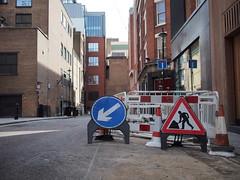The annoying hole (roadscum) Tags: england signs london hole cone roadworks oxfordstreet ramilliesplace