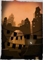 The White Crow (Matthew Watkins) Tags: city white illustration crow fingerpainting procreate ipad