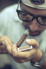 Cigar (Conner McCrea) Tags: new zeiss canon orleans louisiana jake neworleans roadtrip cigar flame match 5d shallow 5dm2