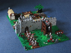 Siege of Ardon Overview (GrayOverload) Tags: city chimney house tree tower apple soldier fire death pig oak war village lego wizard helmet lion torch sword knight shield apothecary siege peasant potion minifigure