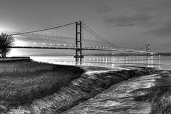 Humber Bridge in HDR Monochrome (gclocoman) Tags: nightphotography lincolnshire hull mudflats hdr humberbridge eastyorkshire riverhumber bridgesatnight bartononhumber