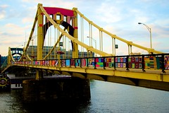 Yarn the Bridge (Brian Bogovich) Tags: pittsburgh seventhstreetbridge andywarholbridge publicartinstallation yarnthebridge