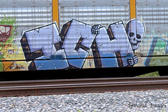 ICH    (close-up) (INTREPID IMAGES) Tags: street railroad color art closeup train bench circle t graffiti fan paint steel painted sony tracks rail railway trains tags images 63 yme railcar intrepid writer boxcar graff grab ich freight rolling ichabod itd sfl gr8 paintedtrains fr8 benching autoraxx intrepidimages