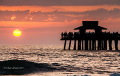 Naples Pier v1 (Rafe Abrook Photography) Tags: sunset sea usa sun beach gulfofmexico silhouette landscape pier fishing fishermen gulf florida wave naples settingsun naplespier blinkagain