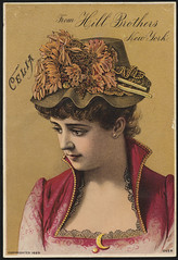 From Hill Brothers New York. Celia. [front] (Boston Public Library) Tags: women hats advertisingcards