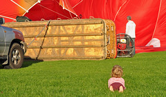 It's a bigger balloon than I get at the fair ........ (littlestschnauzer) Tags: york uk travel red england hot cute girl up big nikon toddler child open basket little air yorkshire watching north balloon going rope adventure virgin elements huge vehicle attached racecourse ballooning exciting inflation fascinated inflating d5000