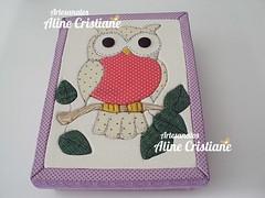 Caixa Coruja (Line Artesanatos) Tags: caixa patchwork caixademadeira caixasforradas patchworkembutido