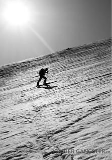 Up the glacier in the sun