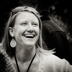 43 - Emotion (kightp) Tags: people blackandwhite bw smile women emotion candid gprojects project52bw