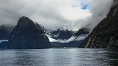 Blue Sky at Milford Sound (GreyStump) Tags: newzealand snow water day nz fjord milfordsound fiord fiordland topf400 thegalaxy naturesgallery 9000v360f projectweather mygearandme blinkagain greystump pwwinter inspiringcreativeminds copyrightcolinpilliner