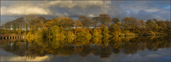 Autumn reflections (Pete37038) Tags: uk autumn trees england panorama colour reflection english water clouds reflections landscape nikon colours dam pano lancashire viaduct colourful sthelens merseyside waterreflections nikond carrmill northwestengland northwestuk uklandscape englandinteresting nikond7100 lancashireinteresting pete37038photos peterowbottom vision:mountain=0591 vision:sky=0826 vision:plant=0507