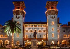 Old Hotel Alcazar now Lightner Museum, St. Augustine, Florida (DawnaMoorePhotography) Tags: christmas light sky usa holiday festival night evening twilight lowlight downtown unitedstates florida dusk magic twinkle illuminate