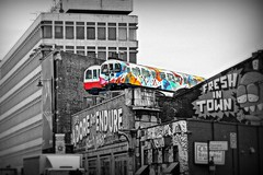 Tube Train Offices (96tommy) Tags: street uk england london art modern train liverpool underground photography graffiti photo high flickr britain jubilee united great transport tube railway kingdom line shoreditch gn trasnportation