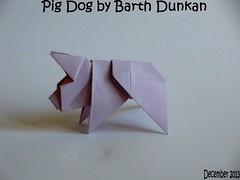 Pig Dog by Barth Dunkan (Magic Fingaz) Tags: dog chien pig origami piglet cochon porc porcelet origamidog origamipig