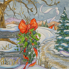 The Holly and the Ivy and the Snow Storybook Cottage Series (cottagelover1953) Tags: christmas original winter snow illustration fairytale vintage painting berries ivy holly retro evergreen yule storybook bungalow whimsical