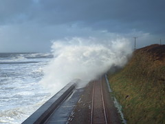 Storm surge closes rail track at Llanaber, Gwynedd. (Defabled) Tags: storm high day tide barmouth