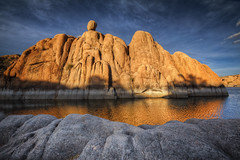 Golden Rule (boblarsonphoto1) Tags: light arizona lake reflection nature landscape rocks cliffs prescott watsonlake boblarson