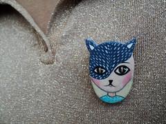 Cat girl clay brooch (MartinaVisnjicArt) Tags: illustration cat watercolor pin brooch clay etsy catgirl airdryclay