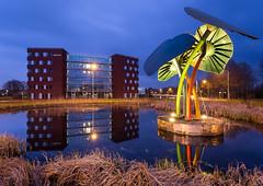 Hoofdkantoor Hunze en Aa's - Veendam, The Netherlands (koos.dewit) Tags: sunset water canon reflections zonsondergang thenetherlands groningen 6d veendam 2014 spiegelingen 1740mml koosdewit