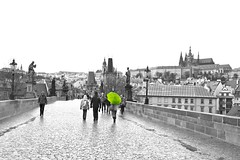 Green umbrella (jinephoto) Tags: bridge prague charlesbridge easterneurope