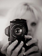 Minolta Madness (SimplyAmy74) Tags: blackandwhite selfportrait reflection digital vintage fun mirror minolta sony oldschool madness tuesday manual selfie ilovemycamera sonya7