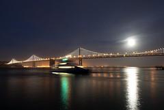 Full Moon and Ferry (dcnelson1898) Tags: sanfrancisco california nightphotography water clouds lights bay nikon downtown fullmoon sanfranciscobay theembarcadero oaklandbaybridge