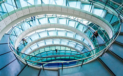 Overstep - Explored (DobingDesign) Tags: cityhall londonassembly london england unitedkingdom gb city architecture interiorarchitecture spiral curve lines colours steps symmetry blues tones staircase stairs light geometric arc swirl