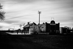 Santa Fe Station. Route 66. Holbrook. Arizona. (PickledMonkeyStudio) Tags: holbrook holbrookarizona arizona az trainstation traindepot santeferailroad railroad blackandwhite bw abandoned route66