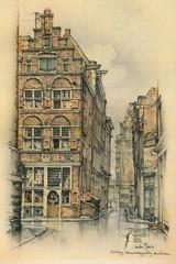 Anton Pieck- Bemin dan Amsterdam, 1948 ill  Nieuwe Brugsteeg (janwillemsen) Tags: antonpieck amsterdam bookillustration 19451948