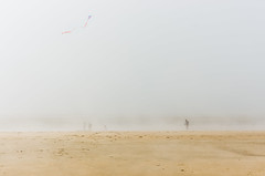 Day 93 - Kiting in the fog (cframezelle) Tags: kite sport beach fog cloud unreal mystery ambient ambiance nature plage grey sun warmth tide pentax telelens lens water sand contrast colour flickr dslr