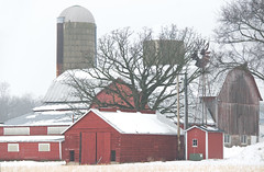 One foggy morn (WORLDS APART PHOTO) Tags: farm farmoutbuildings agriculturalbarns agriculture foggy winter windmills windmillwednesday wisconsin kingston outdoors buildings architecture rustic ruralrustic