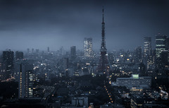Approaching Storm (ScottSimPhotography) Tags: tokyo japan japanese city cityscape skyline dark storm stormy monochrome moody view panorama panoramic desaturated asia asian