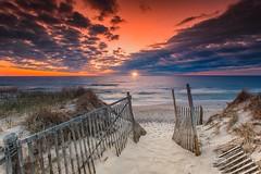 Ocean Sunrise, Nauset Beach Cape Cod (Dapixara) Tags: nature weather wearherphotography sand fence clouds seascape today orleans entrance sunrise ocean beach nauset photography capecod massachusetts usa