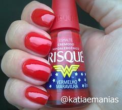 Vermelho Maravilha (Risqué) (katiaemanias) Tags: mulhermaravilha risque vermelho unhas unha esmalte esmaltes cremoso katiaemanias nails nailpolish nail