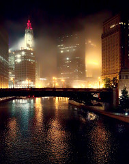 Foggy Night (beelzebub2011) Tags: usa illinois chicago fog chicagoriver bridge