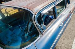 Up and around (GmanViz) Tags: gmanviz color car automobile detail chrome nikon d7000 1959 chevrolet stationwagon windshield roof door mirror windows