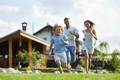 Expression (Inspire images) Tags: 2530 active adult american architecture boy buildings casual caucasian child expressing exterior families family front girls grass green happiness house kid lawn lifestyle male man offspring outdoors parent people positivity smiling son summer woman young