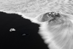 The flow (George Pancescu) Tags: nikon d810 1635mm iceland jokulsarlon diamondbeach blacksand water arcticocean sea ice nature natural outdoor beach vatnajökullnationalpark blackandwhite monochrome