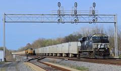 NS #255 at Hazel Dell (HighHor$epower) Tags: ns8082 ns255 hazeldell es44ac gevo roadrailer triplecrown up4311south sd70m railroadsignals signalbridge norfolksouthern springfieldhannibaldistrict