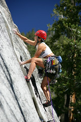 Female Climber at Suicide Rock (ericfoltz) Tags: female woman climb climber ascend athletic agility strength power danger risk challenge skill nature outdoors rock helmet sport extreme