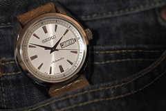 Seiko, Presage. 6 (EOS) (Mega-Magpie) Tags: canon eos 60d indoor lee blue jeans watch wristwatch time timepiece seiko presage sary055 jdm japan made japanese domestic model caliber 4r36 automatic classic leather band