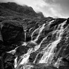 Coire Lagan Waterfall (amcgdesigns) Tags: andrewmcgavin cuillin skye slowshutter water waterfall square sgurrdearg silverefex eos400d mono monochrome blackandwhite landscape isleofskye misty cliffs coirelagan cuillins scotland scottishmountains scottish alltcoirelagan