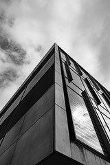 Architecture West End EPMG  (17 of 20) (Philip Gillespie) Tags: architecture edinburgh scotland mono buildings city sky spring form shape angles reflections clouds modern